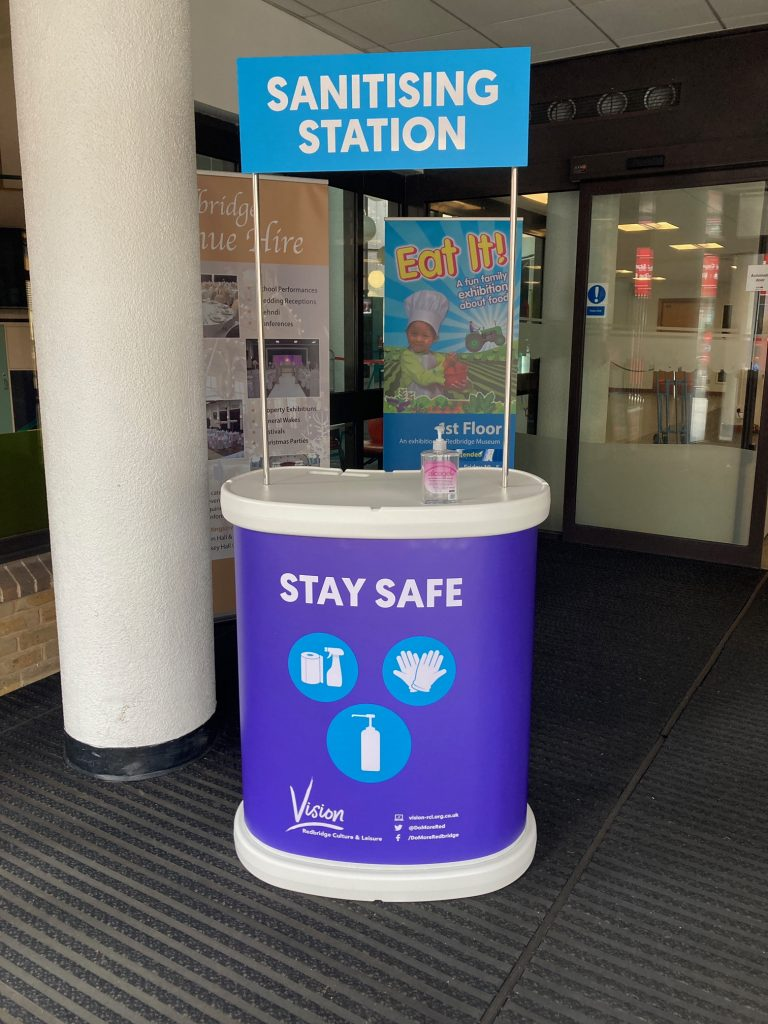 sanitising station in library entrance