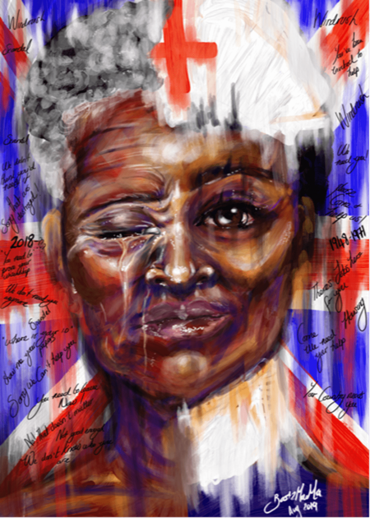Painting of black lady on a union jack background